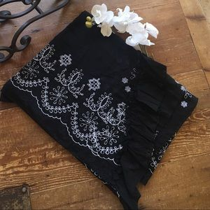 NWOT. Betsey Johnson Black Embroidered Pareo/Scarf